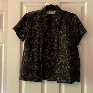 Ladies black with white floral stitch detail top